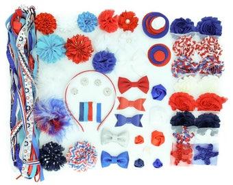DIY Small Headband Kit - USA - 20-30 DIY Flowers, Headbands, and Clips - Headband Bar - Baby Shower Activity - Diy Kit