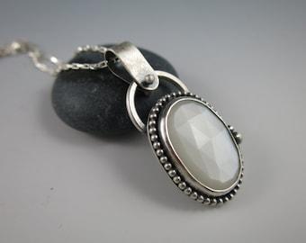 Moonstone Sterling Silver Handmade Necklace, Pendant,  Etched Necklace, Beaded Necklace, Handmade, Handcrafted, Delicate, Etsymetal