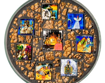 Fairy Tales Glass Mosaic Plate - Cinderella, Paris, Marie Antoinette
