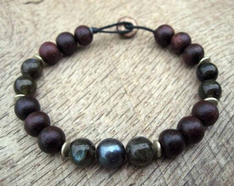 Mens bracelet, genuine black pearl, freshwater pearl, labradorite, wood and metal beads, mens beaded bracelet, on strong cord, toggle clasp