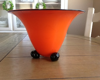 Vintage Czechoslovakia Orange Glass Vase with Black Ball Feet