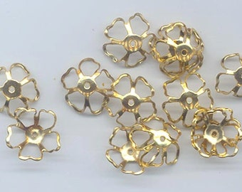 24 vintage delicate gold tone open work metal bead caps in a flower shape - 14 x 5.5 mm