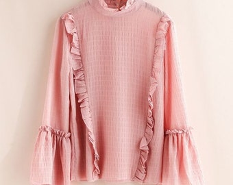 Forest Mori Girl Princess Pleated Solod Color Shirt Stand Collar Flare Sleeve Chiffon Shirt Lady Casual Ruffles Blouse Top Shirt