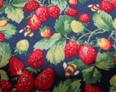 Cotton Fabric by the yard- Strawberries and Bees