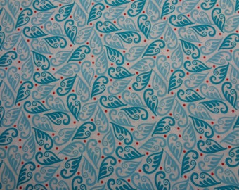 "100% Cotton Blue Swirl Fabric -42"" x 24""- Apparel Fabric--Quilting Fabric"