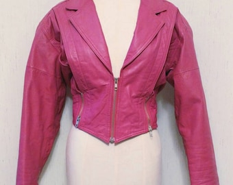 "Amazing 1980's Magenta ""Yucatan Bay"" Cropped Moto Bomber Style Leather Jacket- Size Medium Zippered Batwing Fuschia Korea Punk Rocker"