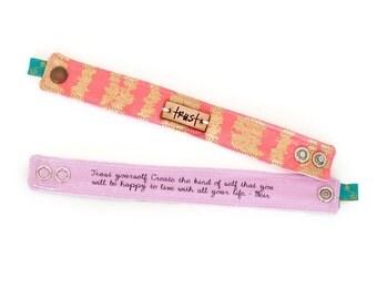 Inspirational Bracelet, Blessing Band™, Metal or Leather plate bracelet, Trust Bracelet, Inspirational Jewelry,  Inspirational Bracelet