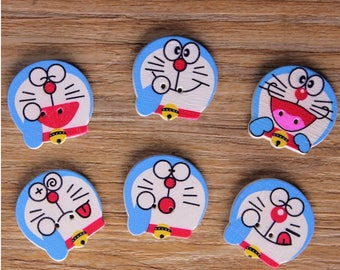 """30 PC Painted wood buttons 20mm - Wooden Buttons ,tree buttons, natural wood buttons """"Doraemon"""" A076"""