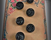 Jet Black Glass Victorian Mourning Buttons 6 Pcs