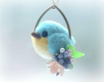Needle felt bird pendant necklace, soft sculpture wool bird jewelry, blue bird on flower hoop pendant, whimsical jewelry, gift under 25