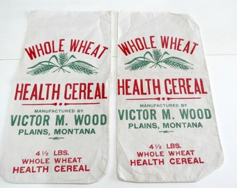 2 Vintage Whole Wheat Health Cereal Bags or Pouches, Kitchen Art, Collectible Advertisements, Vintage Ephemera by TheSweetBasilShoppe