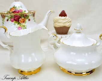 Royal Albert Large Val D'Or Cream and  Sugar Set, English Bone China Creamer and Covered  Sugar Bowl, Replacement china, ca. 1962
