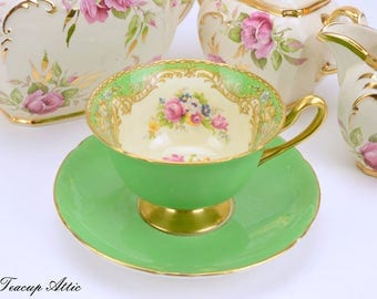 Shelley Green Footed Teacup And Saucer Set , English Bone China Teacup Set, Vintage Wedding Gift,  ca. 1945-1966