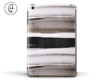 Delicate Watercolour design in Black and White stripes - Hard Case for iPad, iPad Mini and iPad Air
