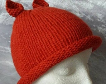 Orange Kid's Hat with Ears - Ages 2/3+