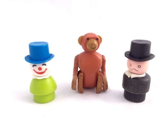 Vintage Fisher Price Little People Circus Pieces, Ringmaster, Clown and Monkey