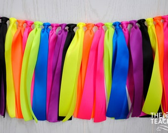 Glow in the Dark Party - FREE Shipping - Neon Ribbon Garland - Neon Bunting - Neon Banner - Neon Party - Blacklight Party - 80s Party