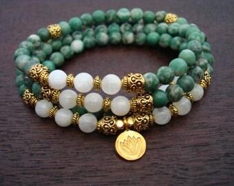 China Jade & Moonstone Prosperity Mala // Necklace and Wrap Bracelet // Yoga, Buddhist, Prayer Beads // Free Shipping Etsy