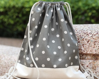 Drawstring backpack/ Cotton backpack/ Drawstring bag/ handmade backpack/ Gym bag/ Swim bag ~ Polka dots (B87)