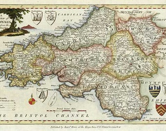 South Wales 1786. Antique map of South Wales, by Thomas Kitchin - MAP PRINT.
