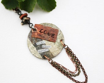 Love Mixed Media Necklace, Mixed Media Jewelry, Green Bead Necklace, Stamped Necklace, Stamped Jewelry, Recycled Repurposed, Beaded Jewelry