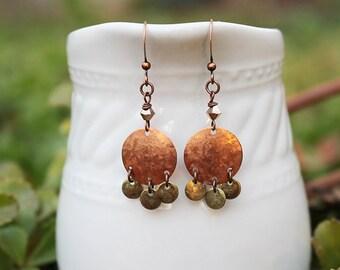 Copper Earrings, Beaded Earrings, Beaded Jewelry, Bohemian, Industrial, Mixed Metal Earrings, Hammered Copper, Long Earrings