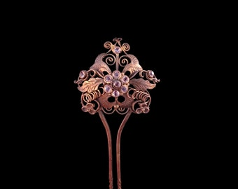 Vintage Indonesian Bronze Hairpin, Bridal Hair Adornment, Filigree Flower, Clear Glass Stones, Exotic Hair Jewelry, Love Token, Gift for Her