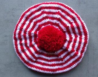 Beret, Hat, Children's Hat, Hand Knitted, Pure Wool, Red And White Stripes, UK Seller