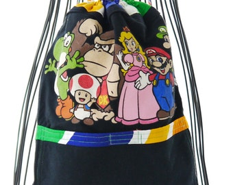 Small Backpack, Backpack, Upcycled Backpack, Mario Bros Backpack, Tee Shirt Repurposed into Backpack, Childs Backpack, Upcycled Recycled