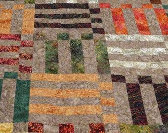Batik Quilt in Earth Tones