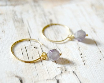 Faceted Amethyst Hoop Earrings.
