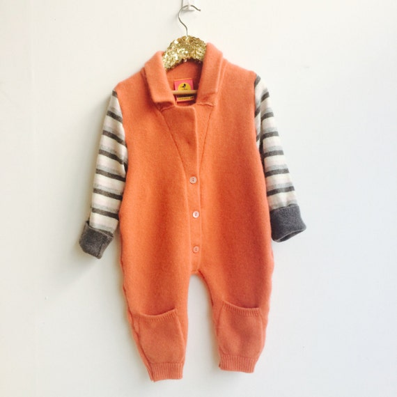 SLEEP 2-3 Years Kids Cashmere Toddler Playsuit Romper Dungarees Pants Overalls Onesie Upcycled Unisex