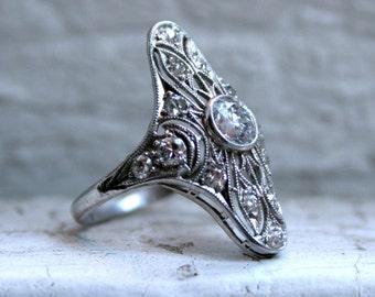 Lacey Antique Platinum Diamond Navette Ring - 1.02ct.