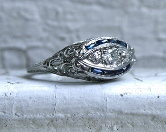 Antique Three Stone Filigree 18K White Gold Diamond and Sapphire Engagement Ring - 0.62ct.