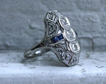 Fantastic Vintage 18K White Gold Diamond and Sapphire Ring - 0.96ct.