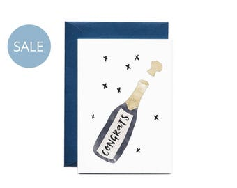 ON SALE Congrats Champagne Illustrated Greeting Card