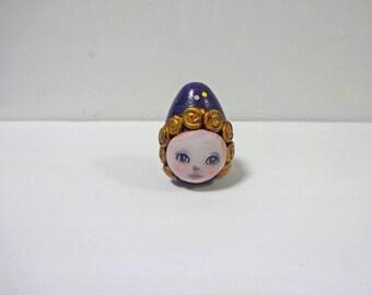 "Miniature Handmade Assemblage Mixedmedia Art Doll ""MATO-chan"""