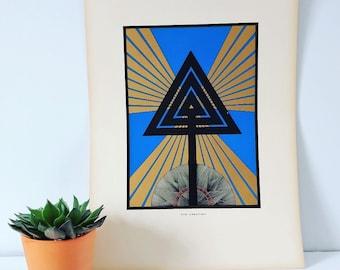 Vintage art deco print, theosophical spiritual print, the creation