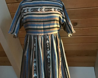 Guatemalan Ikat Woven Dress Fringe Sleeves size Small/Medium
