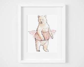 ballet dancing bear watercolor illustration art print   gifts for babies, girls, dancers, ballerina