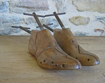 Antique French cobbler wooden shoe forms - pair of shoe stretchers