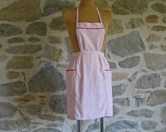 red and white apron, 1950s handmade bib apron