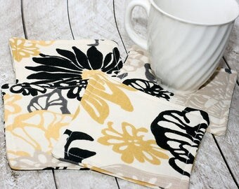 Yellow & Black Floral Coasters, Set of 4