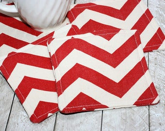 Red Chevron Coasters, Set of 4