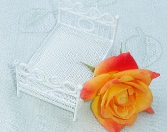 Vintage White Metal Wire Ornate Doll Furniture - Bed Frame