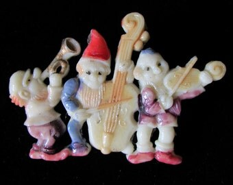 Vintage Celluloid Pin Three Dwarfs from Fairy Tale Snow White and the Seven Dwarfs Made in Occupied Japan
