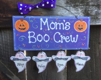 GHOSTS Personalized sign Halloween Gift Decor Wooden Hand crafted painted Jack o Lantern Custom