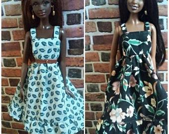 A Lot of 2 Vintage Print SunDresses for Barbie, Curvy Barbie or similar fashion doll
