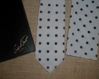 Designer Linda Davis Necktie Hanky/Pocket Square *Polka Dots* Boxed Tie Set!