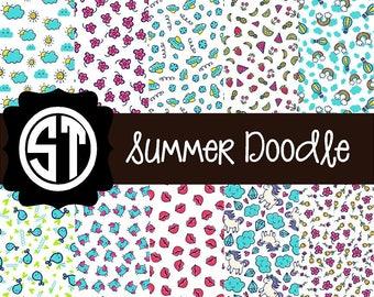 Summer Doodle Patterns Vinyl (Indoor, Outdoor,  Glitter Vinyl, HTV iron on, Glitter Heat Transfer) Lamination available Mask not included